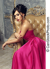 Elegant lady wearing ball gown - Elegant srunning woman...