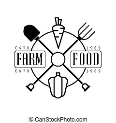Farm food estd 1969 logo. Black and white retro vector...