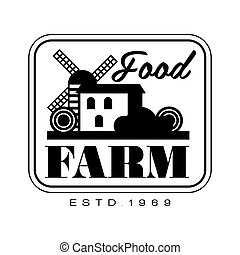 Food farm product estd 1969 logo. Black and white retro...
