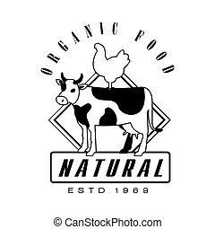 Natural organic food estd 1969 logo. Black and white retro...