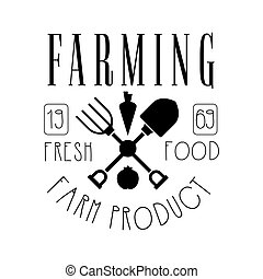 Farming fresh food farm product logo. Black and white retro...