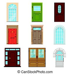 Colorful front doors. Collection of vIntage and modern doors...