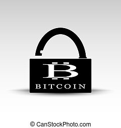 Opened lock with bitcoin logo - Vector illustration of black...