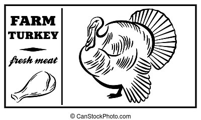 Label of meat products. Goose. Poultry meat. Vector...