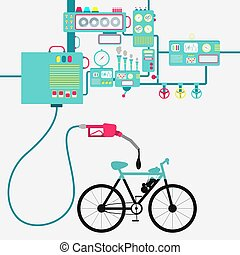 Electric bike and oil production - Machinery of factory...