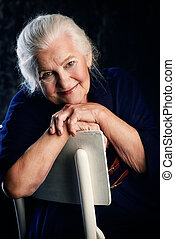 gray-haired old woman - Portrait of a beautiful smiling...