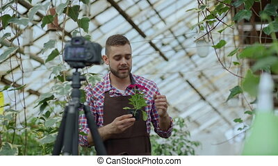 Young smiling blogger man florist in apron holding flower talking and recording video blog for his online vlog about gardening