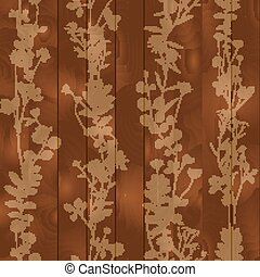 Silhouette of leaves, flowers on wooden background, seamless pattern