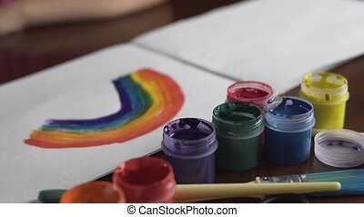 Rainbow Painting on White Paper - Kid drawing colorful...