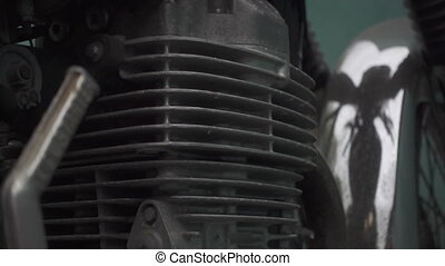 Zoom out motorcycle engine - Zoom out of motorcycle engine.