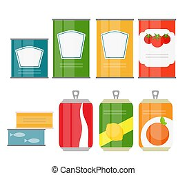 Set of Cans Template in Modern Flat Style Isolated on White. Material for Design. Vector Illustration