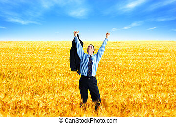 Business success - Free successful businessman in the field...
