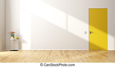 Empty modern room with door - Empty modern room with yellow...