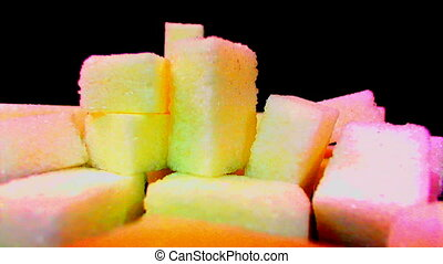 White Sugar Cane Cubes Glucose Sweetener Real-motion colored