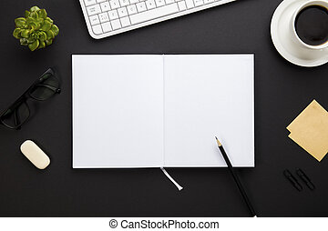 Blank Paper Surrounded By Office Supplies On Gray Desk -...