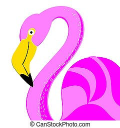 Vector portrait of a pink flamingo on a white background