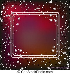 Background with border and stars in red colors. Vector illustration.