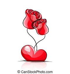Love heart roses