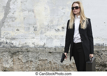 Female agent with briefcase