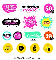 Notebook pc and Usb flash drive stick icons. - Sale shopping...