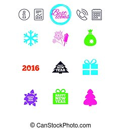 Christmas, new year icons. Gift box, fireworks. -...