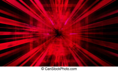 Red technology center focused abstract CG animated looping backdrop