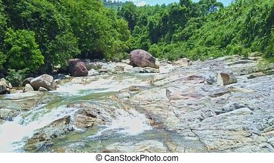 Aerial Close Panorama of Mountain River Rapids in Tropics -...