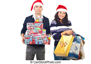 Happy couple with purchased gifts