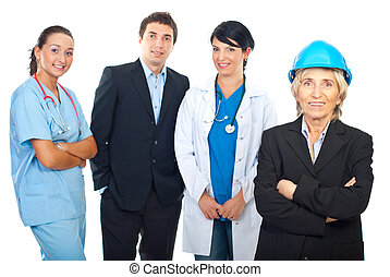 Architect woman and group of workers