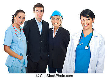 Physician and group of different careers people - Smiling...