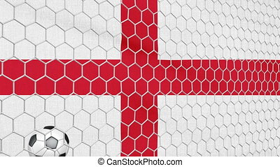 Ball and England flag - Ball in the net Soccer gate on the...