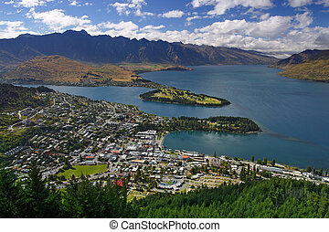 Queenstown, New Zealand - View of the city of Queenstown,...
