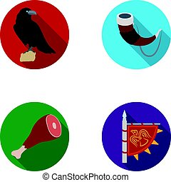 Sitting crow, horn with drink, ham, victory flag. Vikings set collection icons in flat style vector symbol stock illustration web.