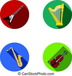 Electric guitar, loudspeaker,harp, saxophone, violin.Music instruments set collection icons in flat style vector symbol stock illustration web.