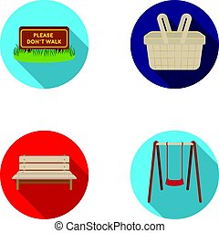Lawn with a sign, a basket with food, a bench, a swing. Park set collection icons in flat style vector symbol stock illustration web.