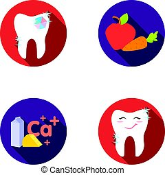 A tooth with brilliant sparkling, an apple with carrots useful for teeth, milk in a box, cheese and a sign of calcium, a smiling tooth. Dental care set collection icons in flat style vector symbol stock illustration web.