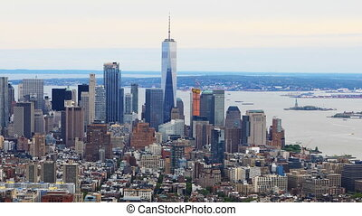 Timelapse aerial of lower Manhattan - A Timelapse aerial of...
