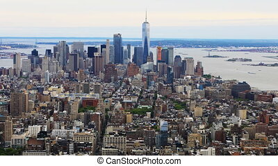 Aerial timelapse aerial of downtown Manhattan - An aerial...