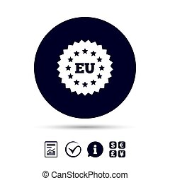 European union icon. EU stars symbol. Report document,...