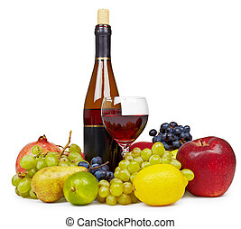 Still life of fruit and wine on white