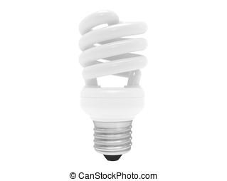 energy saving bulb with screw-thread (isolated)