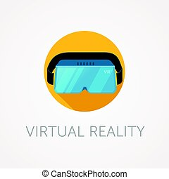 VR headset icon. Virtual reality glass. Flat style design. -...