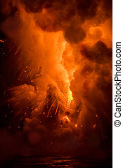 Lava explosion in Hawaii - A lava flow on the big Island of...