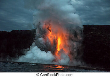 Lava flow in Hawaii - A lava flow on the big Island of...