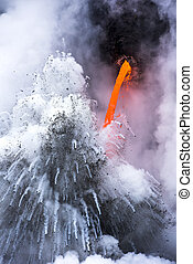 Exploding lava flow in Hawaii - A lava flow on the big...