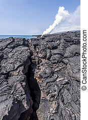 Lava surface fissure - A long volcanic surface fissure...