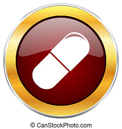 Drugs red web icon with golden border isolated on white...