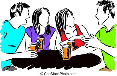 group of friends drinking vector illustration