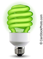 power saving - illustration of green cfl bulb on isolated...