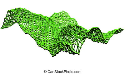 Abstract clean green waving 3D grid or mesh as beauteous...
